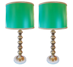 $700 PAIR -  Antique Circa 1930 Pair of Turned Brass Table Lamps with Marble Bases and Handmade Lampshades.