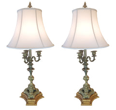 $800 PAIR -  Antique Circa 1930 Pair of French Scroll Arm Candelabra Table Lamps with Cream Silk Bell Shades.