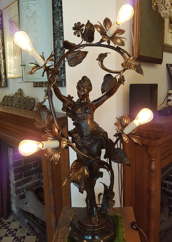 Antique Circa 1900 Early Electric Bronzed Figural Art Nouveau Maiden Table/Newel Post Lamp