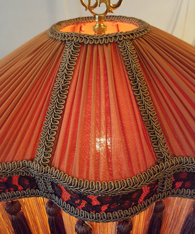 Antique Circa 1920 Cut Glass Table Lamp Lamp with Handmade Fringe and Tassel Pleated Shade