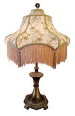 Antique Circa 1905 Four Footed Scroll Leg Table Lamp with Embroidered and Deep Fringe Victorian Shade.