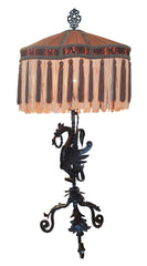 Incredible Antique Late 1800s Gothic Revival Wrought Iron Dragon Table Lamp with Pleated Deep Fringe Victorian Shade.
