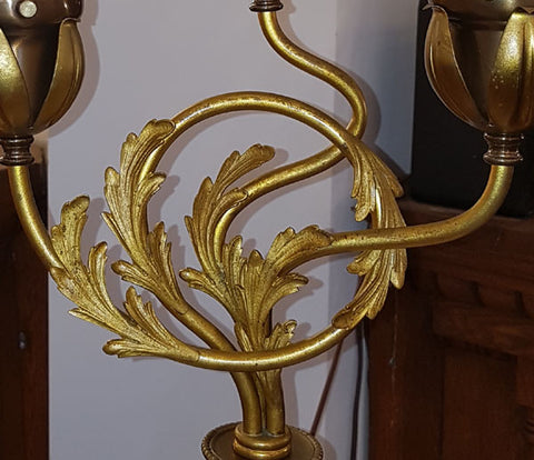 Antique Circa 1900 Three Light Early Electric Rococo Newel Post Light with Embossed Beaded Details