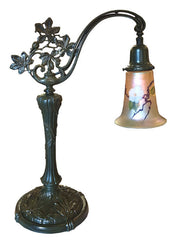 Antique Circa 1915 Single Light, Art Nouveau Influenced Cast Leaf Bridge Arm Table Lamp with Handblown Art Glass Shade.