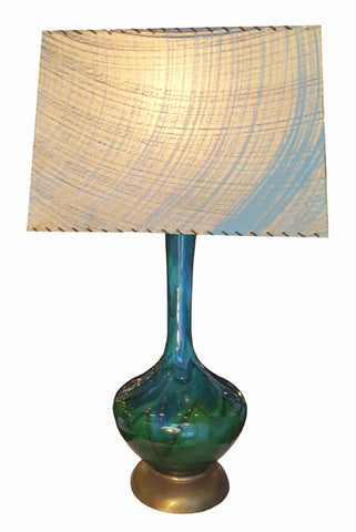 Vintage 1960s Single Light, Green Drip Glaze Pottery Lamp with Original Whipstiched Fiberglass Lamp Shade.
