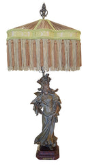 "Antique Circa 1905 Single Light, Figural ""En Visite"" Art Nouveau Table Lamp with Handmade Victorian Fringed Lampshade."