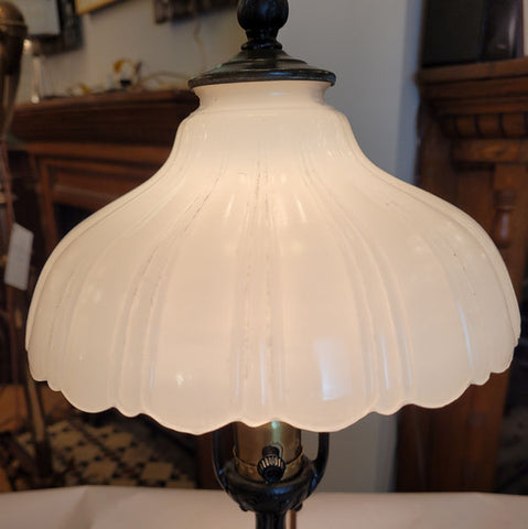 Antique Circa 1910 Single Light Cast Acanthus Table Lamp with Antique Moonstone Milk Glass Shade.