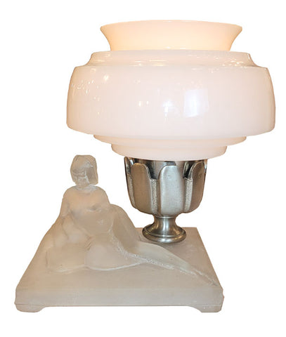 Antique Circa 1930 Single Light Art Deco Lalique Glass Figural Lamp with an Antique Pudding Bowl Shade.