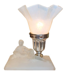 Antique Circa 1930 Single Light Art Deco Lalique Glass Figural Lamp with an Antique Opalescent Swirl Glass Shade.