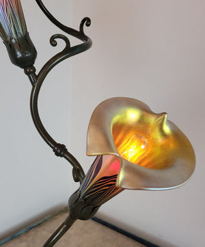 Incredible Antique Circa 1905 Two Light, Art Nouveau Tendril Table Lamp With a Cast Leaf Base and Handblown Art Glass Shades.