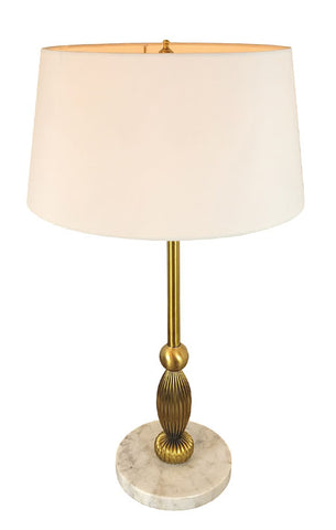 "Handmade ""Milo"" Contemporary Brass Table Lamp with Handmade Cream Chintz Lampshade - PAIR AVAILABLE"