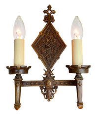 Antique Wall Sconce Fixture Circa 1930, Two Light, Cast Brass Tudor Revival Wall Sconce With Knights And Crests