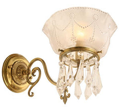 $850 PAIR - Pair of Circa 1910 Scroll Arm Converted Gas Wall Sconces with Antique Press Glass Shades