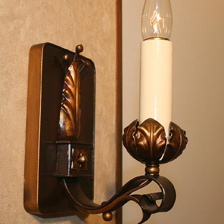 $500 PAIR - Pair of Antique Circa 1920 Scroll Arm Wall Sconces with Leaf Details