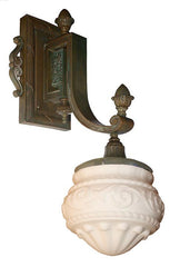 $4900 PAIR - Pair of C 1905 Exceptional Beaux Arts Cast Bronze Exterior Wall Sconces.