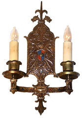 $1300 PAIR  - Pair of Antique Circa 1915 Tudor Revival Bronze Wall Sconces with Dragon and Sheild Mofit