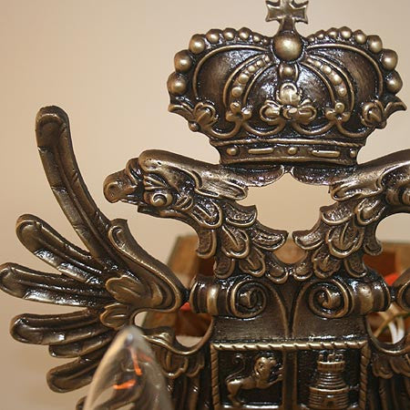 $1700 PAIR - Pair of Antique Circa 1910 Eagle, Crest and Crown Oversized Wall Sconces