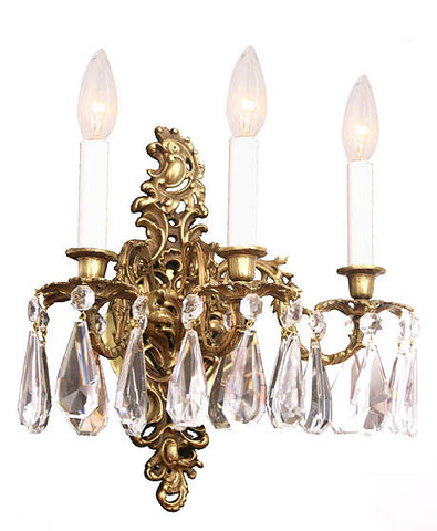 $1900 PAIR - Pair of Circa 1930 French Cast Brass and Crystal Triple Light Wall Sconces