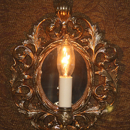 $1250 PAIR - Pair of Antique Circa 1900 Cast Baroque Mirror Back Wall Sconces