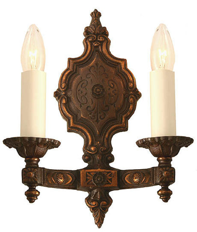 $700 PAIR  - Pair of Antique Circa 1920 2 Candle Cast Wall Sconces with Original Copper Flashed Finish.