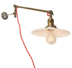 Antique O.C. White Circa 1910, Single Light. Wall Mounted Adjustable Swing Arm Light.