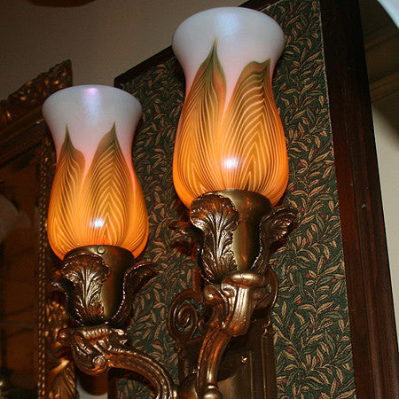 $4,900 PAIR - Pair of Antique Circa 1910, 2 Light Elaborate Cast Scroll Arm Wall Sconces With Acanthus Holders And Art Glass Shades