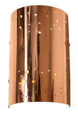 "Handcrafted ""Starlite"" Pair Of Stunning Handmade Curved Copper Perforated Wall Sconces."