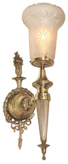 $1700 PAIR – Pair of Antique Circa 1910, Single Light, Neoclassical Embossed Torch Wall Sconces with Elongated Antique Starcut Shades.