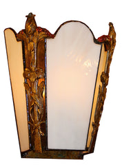 $1500 PAIR – Pair of Exceptional Antique Circa 1920s, Single Light,  Pre-Depression Art Deco Theatre Wall Sconces with Milk Glass Panels.