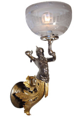Antique Circa 1850, Single Light, Thor & The Serpent Figural Converted Gas Light Wall Sconce Attributed to Archer Warner, Miskey & Co. with Original Greek Key Motif Shade