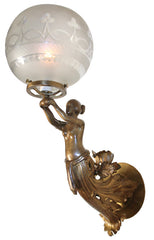 Antique Circa 1850, Single Light, Figural Maiden Converted Gas Light Wall Sconce Attributed to Archer Warner, Miskey & Co. with Period Original Wheel Cut Shade