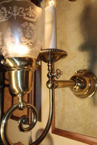$850 PAIR Antique Circa 1905 Two Light, Edwardian Gas-Electric Wall Sconces with Acid Etched Neo-Classical Shades