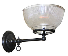 $700 PAIR - Antique Circa 1900 Pair of Industrial Gas Wall Sconces with Antique Holophane Shades