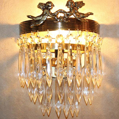 $850 PAIR - Antique Circa 1920 French Empire Brass and Crystal Wall Sconces with Cherub Details.