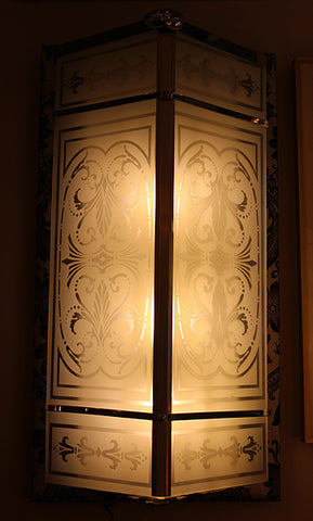 $5000 PAIR - Antique Circa 1925, Incredible Pair of Commercial Art Deco Wall Sconces with Stencil Etched Glass Panels.