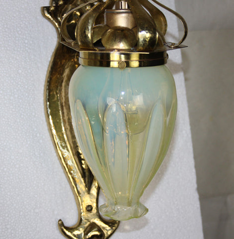 Antique Circa 1900, Single Light, Incredible Art Nouveau Hammered Brass Wall Sconce in the Style of W A S Benson.