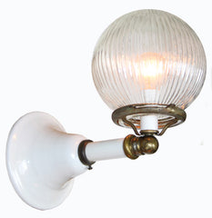 $590 PAIR - Antique Circa 1910, Converted Gas Commercial/Industrial White Enamel Wall Sconces