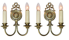 $500 PAIR - Antique Circa 1920 Two Light Neoclassical Scroll Arm Wall Sconces with Cast Ribbon Motifs