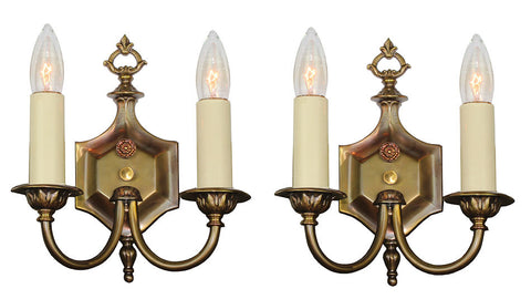 $600 PAIR - Antique Circa 1920 Two Light Wall Sconces with Scroll Arms and Six Sided Backplates.