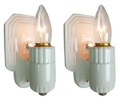 $450 PAIR - Antique Circa 1930s Single Light Art Deco White Porcelain Wall Sconces with Stepped Octogonal Backplates.