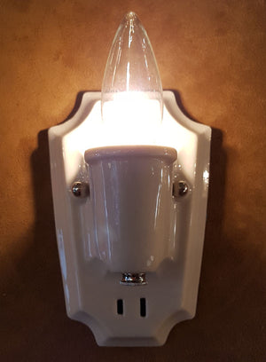 $450 PAIR - Antique Circa 1930s Single Light Art Deco White Porcelain Wall Sconces with Stepped Shield Backplates.