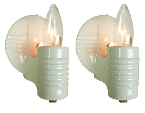 $450 PAIR - Antique Circa 1930s Single Light Art Deco White Porcelain Wall Sconces with Circular Lined Backplates.