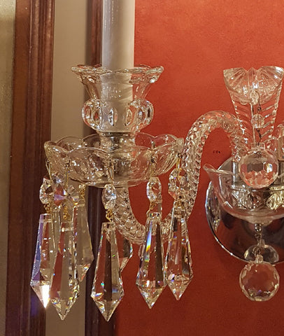 $990 PAIR - Antique Circa 1930s Two Light Crystal Scroll Arm Wall Sconces with Cut Glass Details.