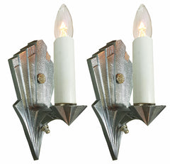 $550 PAIR - Antique Circa 1930 Single Light, All Original Art Deco Geometric Polished Aluminum Wall Sconces.