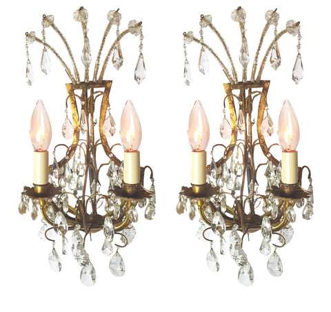 $900 Pair - Circa 1920s Two Light Italian Mirror Backed Crystal Wall Sconces