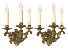 $950 PAIR - Antique Circa 1930 Three Candle Spanish Cast Brass Scroll Arm Wall Sconces.