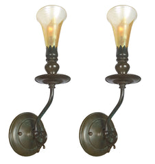 $1300 PAIR - Handcrafted Single Light, Jardin Wall Sconce with Handblown Art Glass Shade.