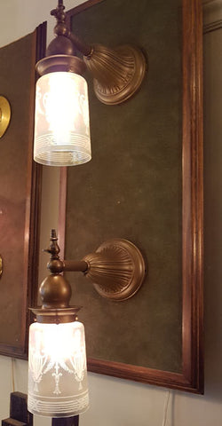 $800 PAIR - Antique Circa 1905 Single Light Gas and Early Electric Edwardian Wall Sconces.
