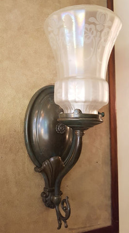 $700 PAIR - Circa 1910 Floral Acid Etched Shades fitted on our Handmade Cast Shell and Scroll Wall Sconces.