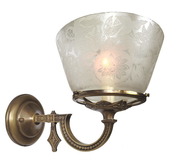 Antique Circa 1870 Incredible Mitchell Vance Gas Converted Wall Sconce with an Antique Floral Acid Etched Shade.